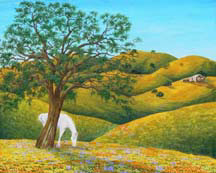 """California Summer"", an landscape painting of summer in acrylic by Jessica Maring"